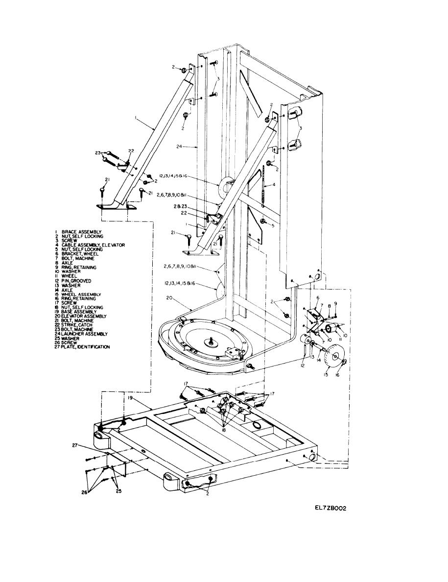 Figure 2-2. Launcher base and elevator assembly, exploded